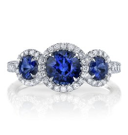 Omi Prive Dore Blue Sapphire Three Stone Ring