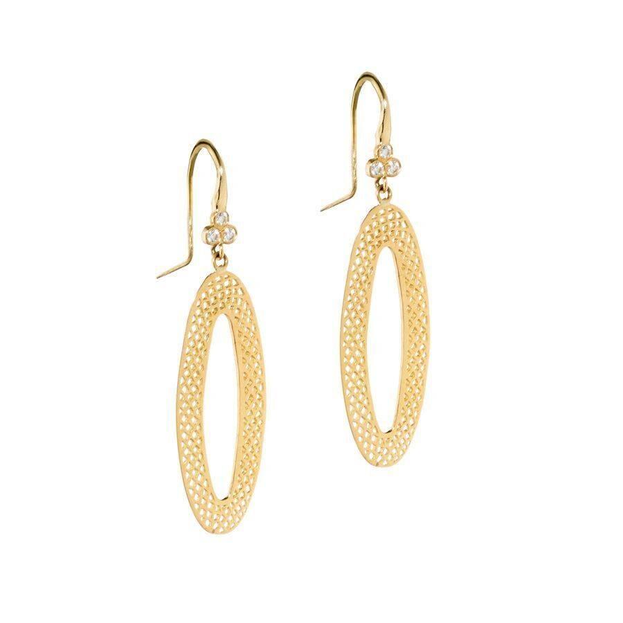 Ray Griffiths Triple Diamond Oval Crownwork Earrings