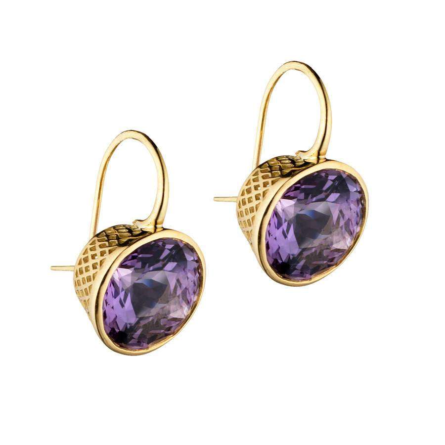 Ray Griffiths Crownwork Bezel Amethyst Earrings