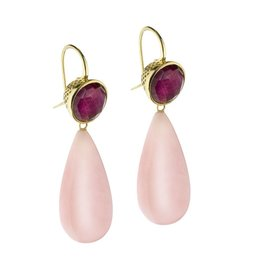 Ray Griffiths Crownwork Ruby & Pink Opal Earrings