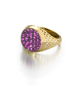 Ray Griffiths Pave Pink Sapphire Crownwork Ring
