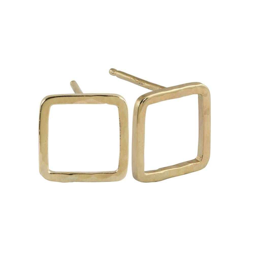 Julez Bryant Pesh Baby Square Earrings Yellow Gold