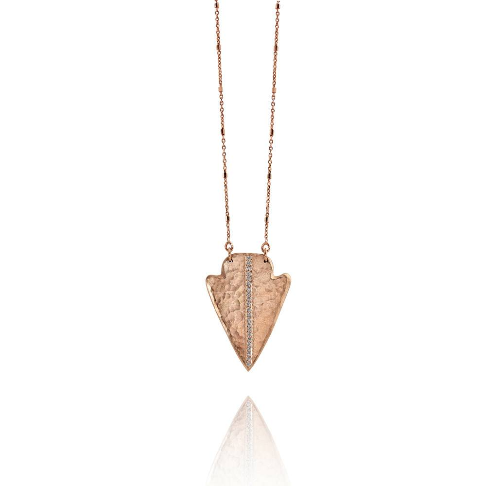 Julez Bryant Noki Arrowhead Necklace Rose Gold