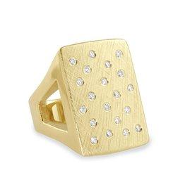 Julez Bryant No 1 Rectangle Ring Yellow Gold