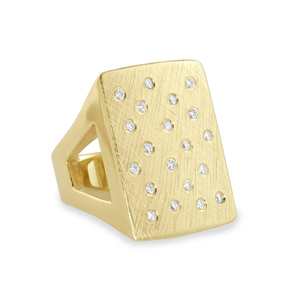 Julez Bryant No 1 Rectangle Yellow Gold Ring