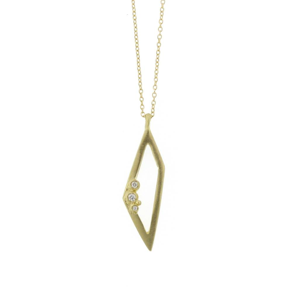 Branch Encrusted Trapezoid Necklace Yellow Gold