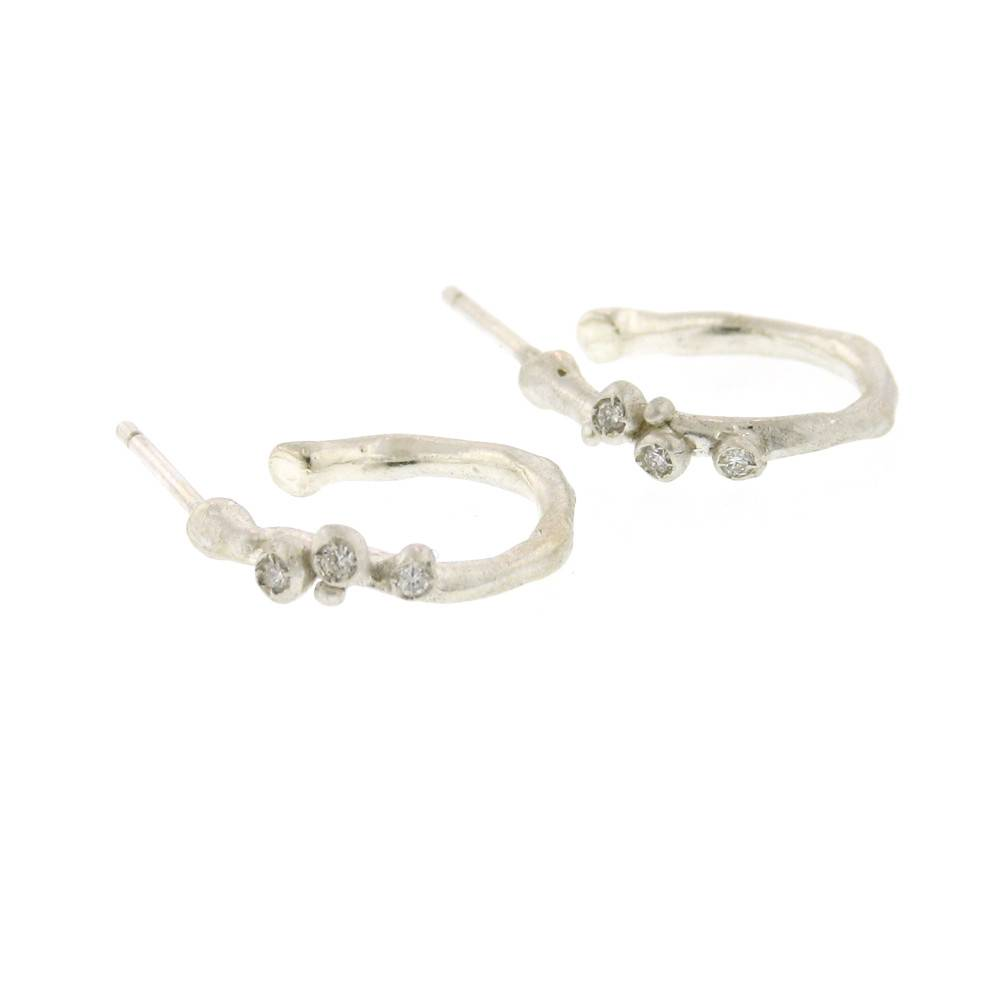 Branch Encrusted Hoop Earrings Silver