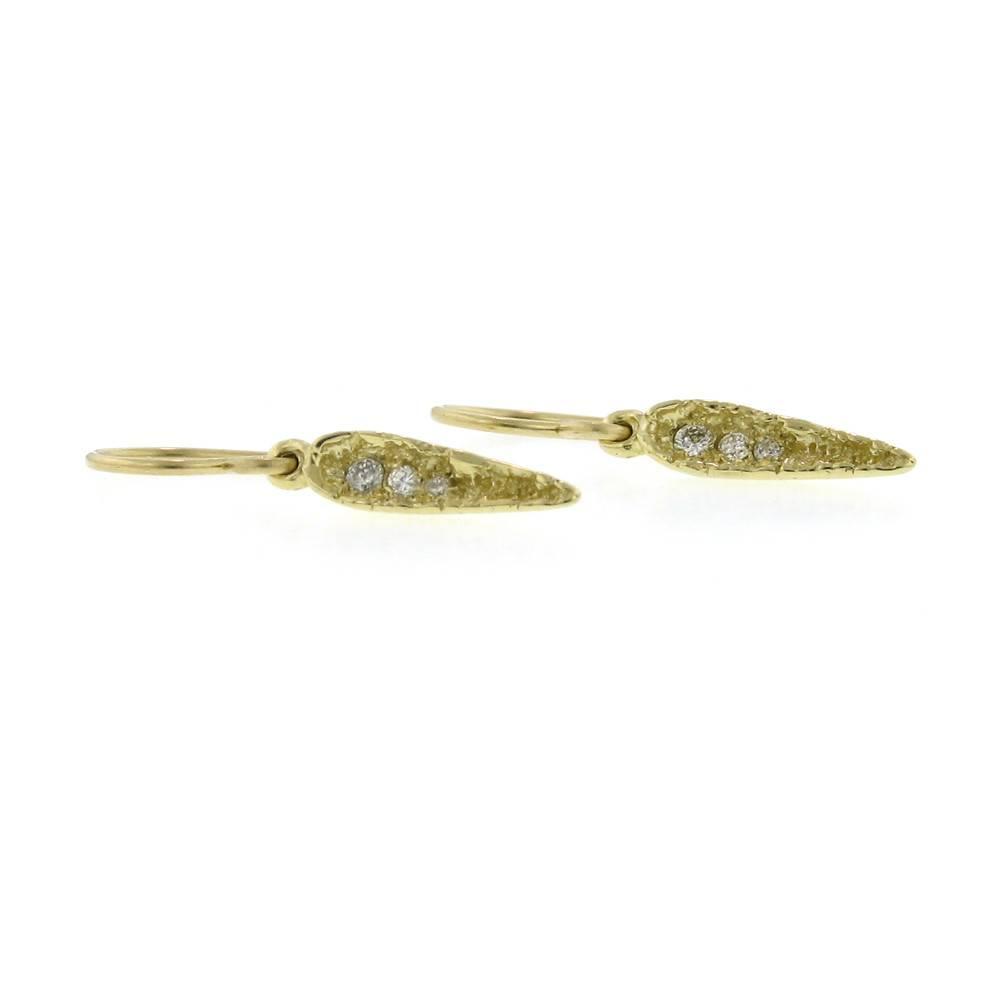 Branch Mini Moss Spear Earrings Yellow Gold