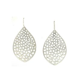 Branch Large Lacy Leaf Earrings Silver