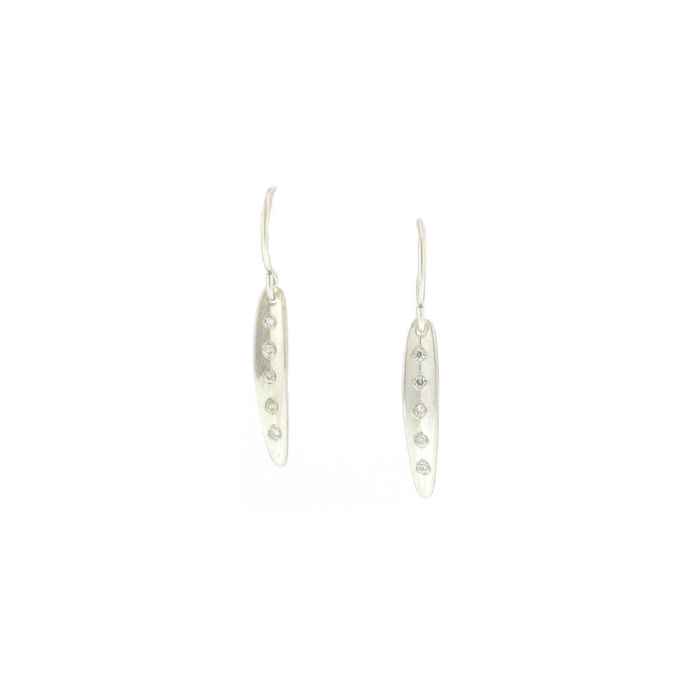 Branch Tiny Long Leaf Earrings Silver