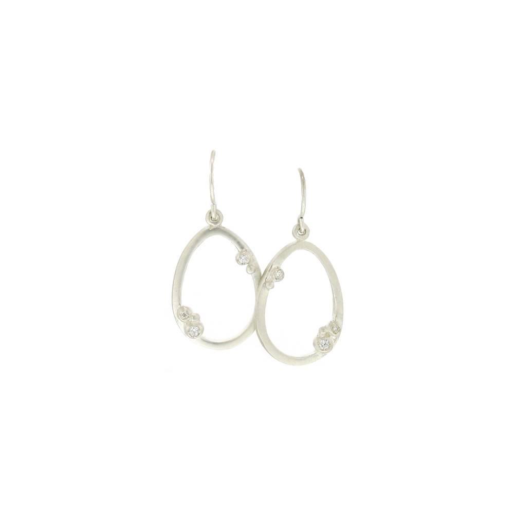 Branch Encrusted Egg Silver Earrings