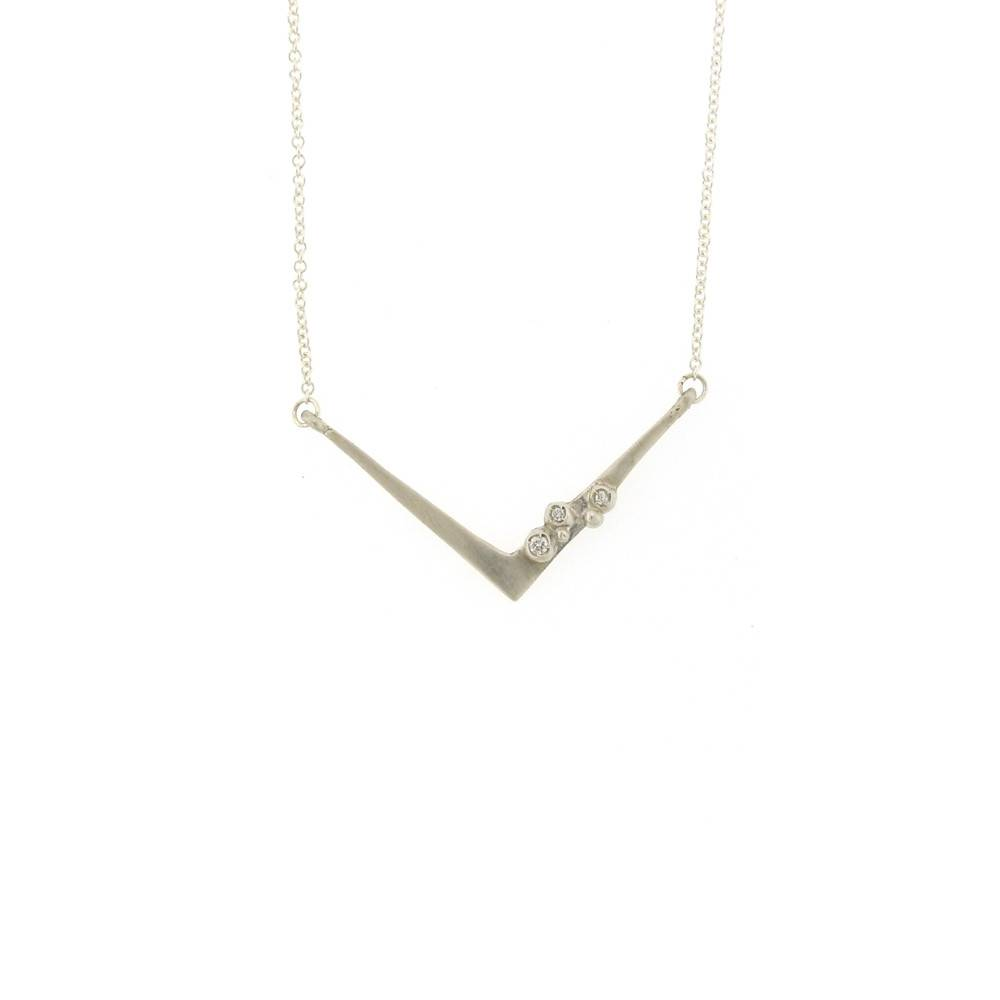 Branch Encrusted Angle Necklace Silver