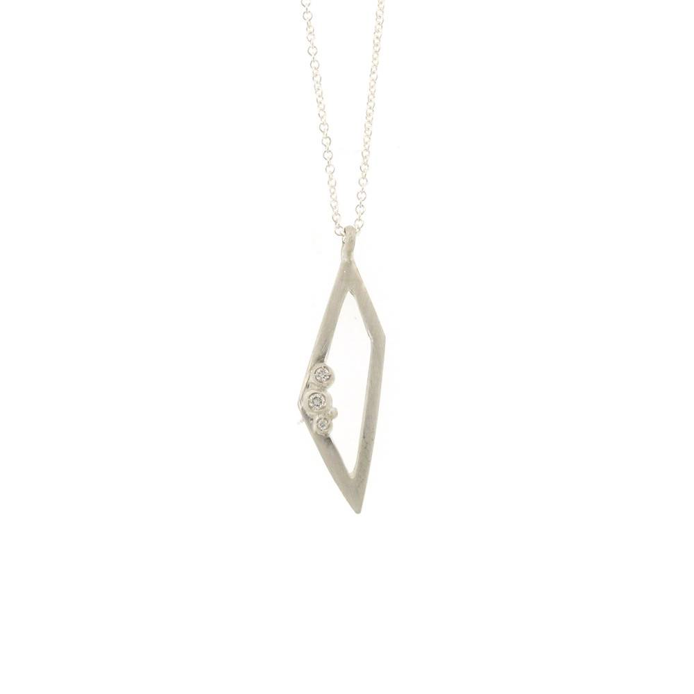 Branch Encrusted Trapezoid Necklace Silver