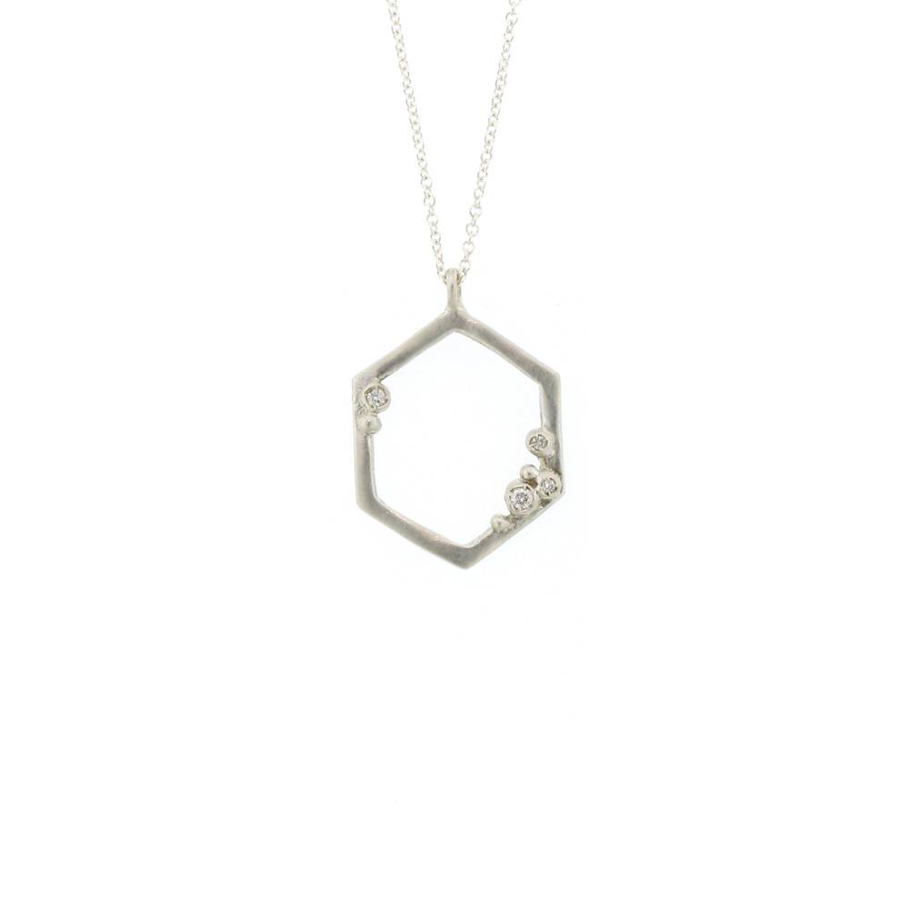 Branch Encrusted Hexagon Necklace Silver