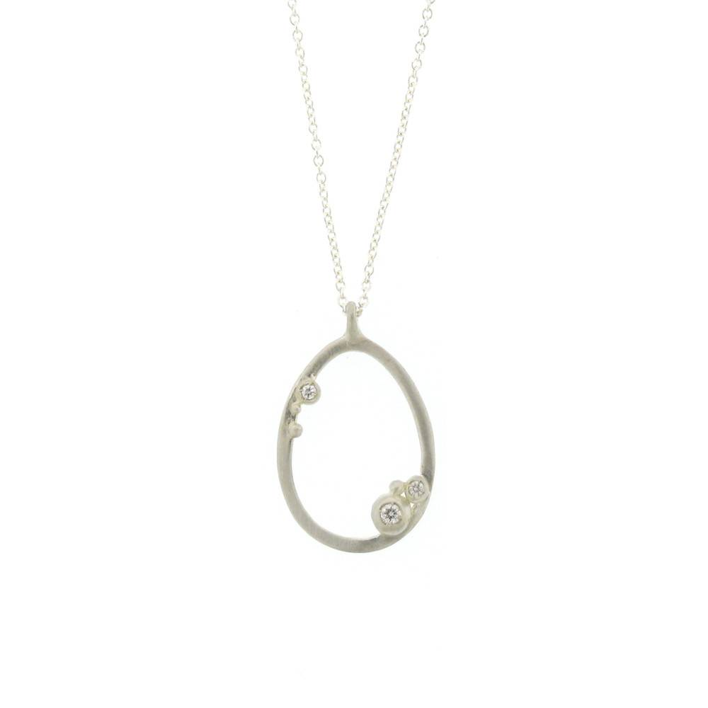 Branch Encrusted Egg Necklace Silver