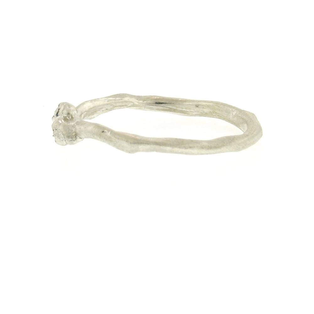 Branch Encrusted Tiny Branch Silver Ring