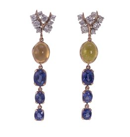 Federica Rettore Drop Sapphire Rose Gold Earrings
