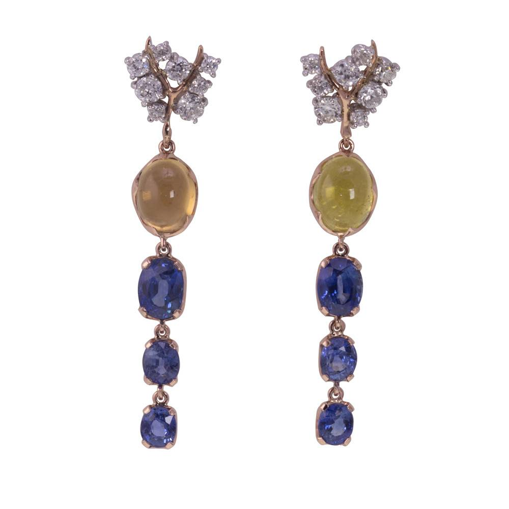 Federica Rettore Drop Sapphire 18K Rose Gold Earrings