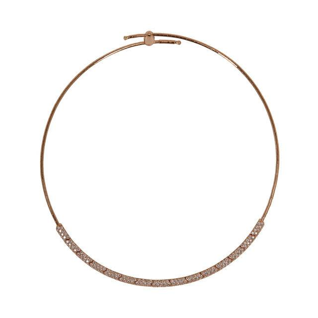 Mattia Cielo Rugiada Collar Pave Rose Gold Necklace