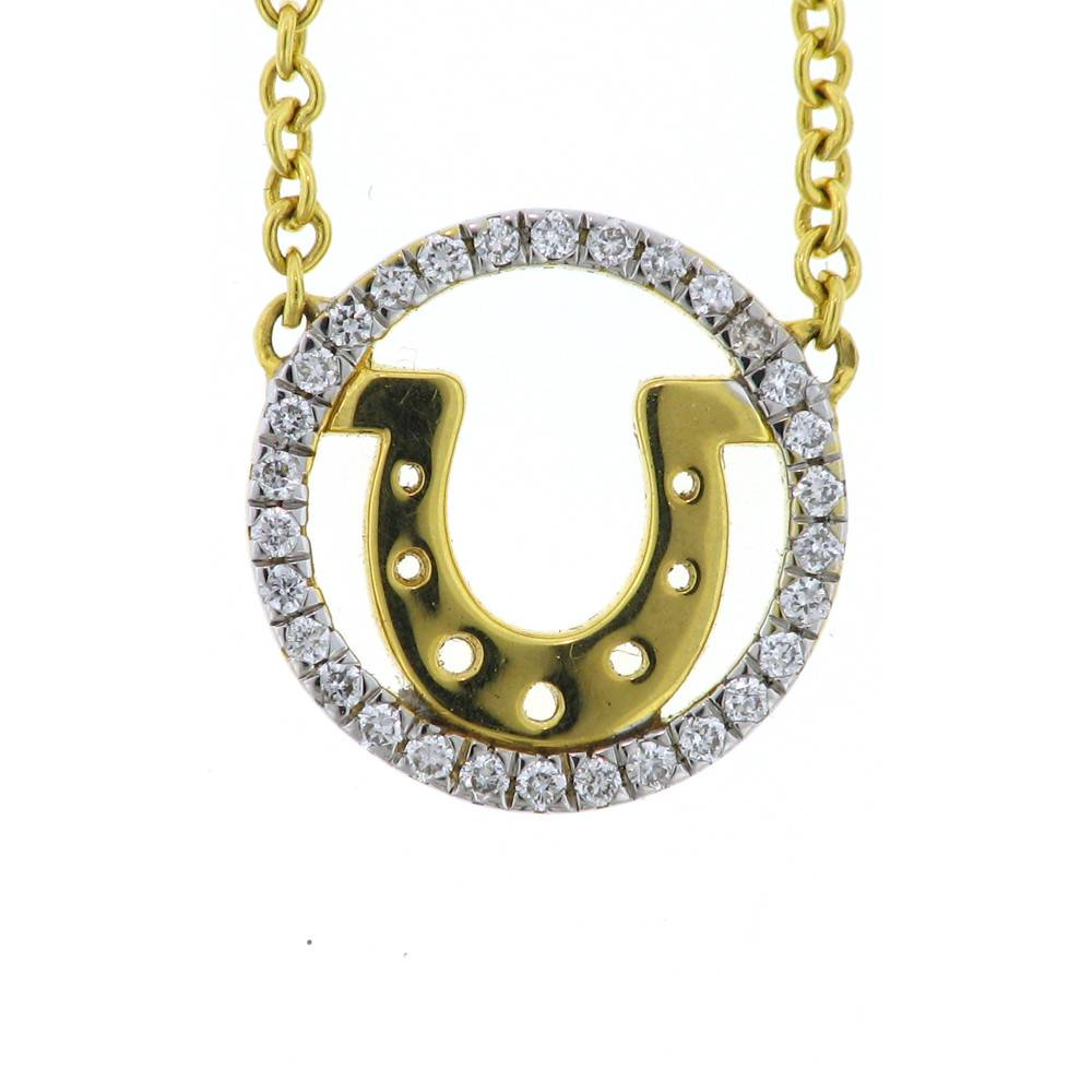 Buddha Mama Horseshoe Yellow Gold Necklace