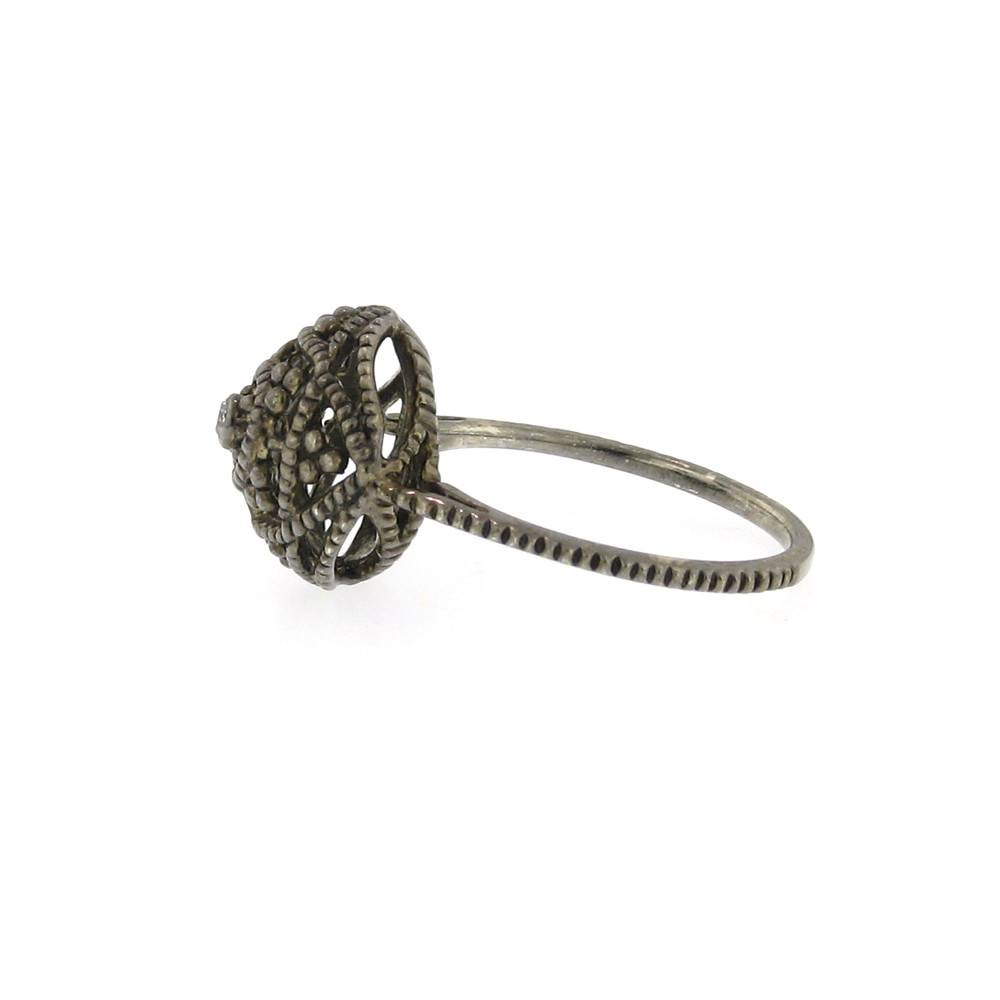 Diana Heimann Small Bauble Black Rhodium Silver Ring