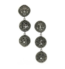 Diana Heimann Triple Bauble Black Rhodium Silver Earrings