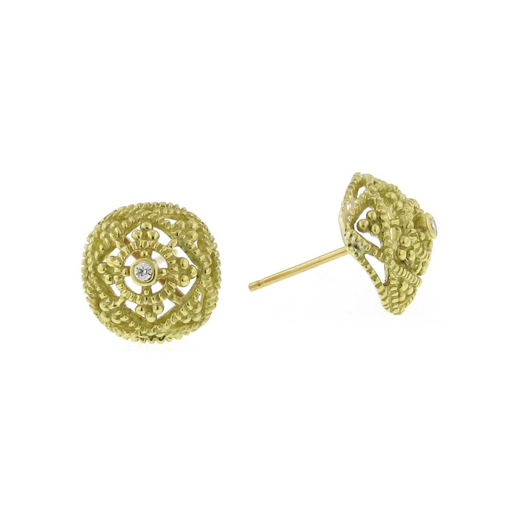 Diana Heimann Small Bauble Yellow Gold Earrings