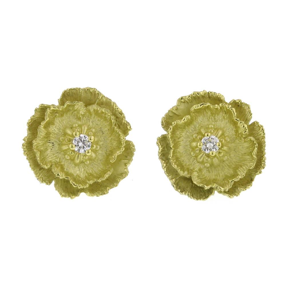Diana Heimann Poppy Flower Yellow Gold Earrings