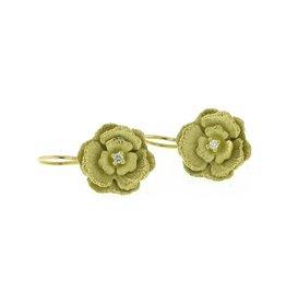 Diana Heimann Medium Flower Drop Earrings Yellow Gold