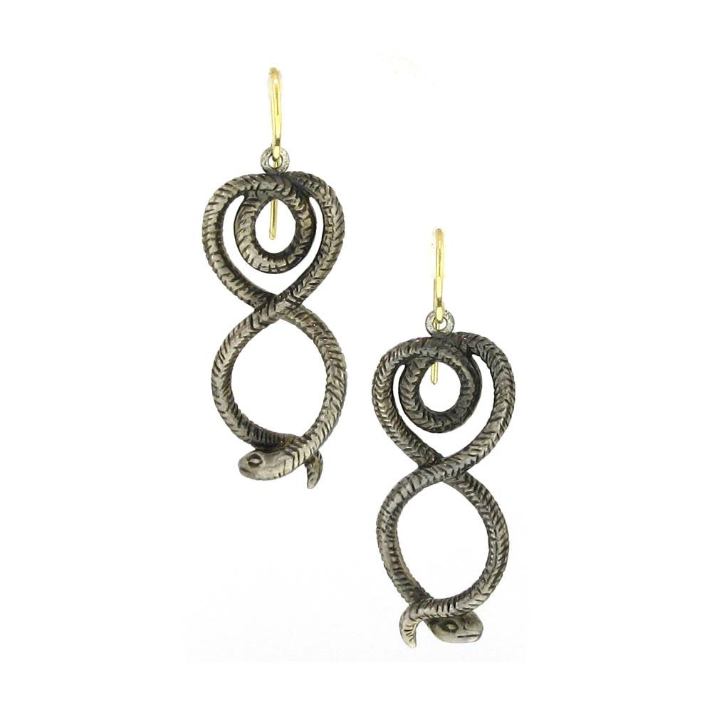 Diana Heimann Snake Silver Drop Earrings