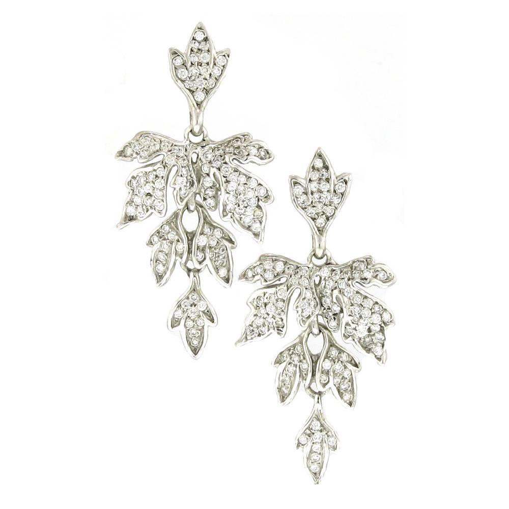 Diana Heimann Edwardian Fleur White Gold Earrings