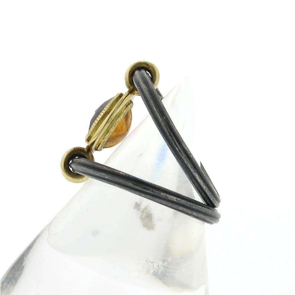 Anthony Lent Flip Ring with Black Diamond and Spessartite