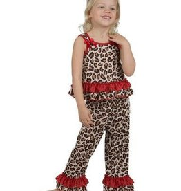 Brown with Red cheetah Racer Back PJ's