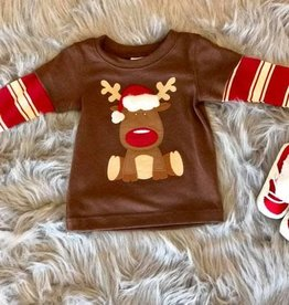 Wally and Willie Boy's Layered Christmas Tee Rudolph