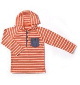 Kapital K Boy's Thermal Hooded Henley, Pumpkin Stripe