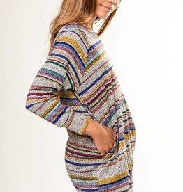 Pomelo Multi Striped Slouchy Long Sweater Top