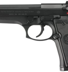 Beretta BER Model 92FS 9mm Double/Single Action 4.9 Inch Barrel Bruniton Matte Black Finish Plastic Grips Three Dot Sights 15 Round Made In Italy