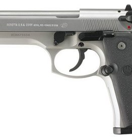 Beretta BER Model 92FS 9mm Double/Single Action 4.9 Inch Barrel Stainless Finish Plastic Grips Three Dot Sights 15 Round Made In Italy