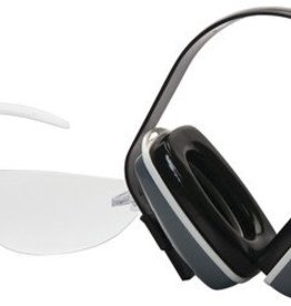 PYRAMEX PYX Alair Safety Glass/Earmuff Combo Clear Lens/Frame NRR22db Hearing Protection Black