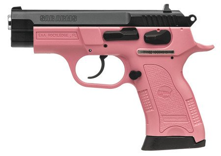 EUROPEAN AMERICAN ARMORY EAA SAR B6PL Compact Lady 9mm 3.8 Inch Barrel Pink Frame Blue Stainless Steel Slide 13 Round