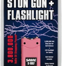 sabre SEC 3.8 Million Volt Stun Gun With LED Flashlight And Belt Holster Pink