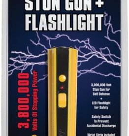 sabre 3.8 Million Volt Stun Gun With LED Flashlight And Wrist Strap Safe to carry. Safety switch to prevent accidental discharge. Instant accessibility. Wrist strap included. Rechargeable.