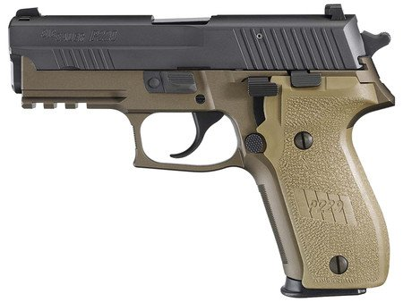 Sig Sauer SIG P229 Combat 9mm 3.9 Inch Barrel Siglite Night Sights Dark Earth Frame/Grips With Black Nitron Coated Slide Accessory Rail 15 Round