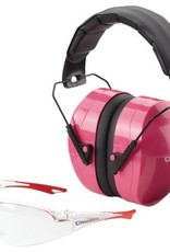 champion CHP Eyes And Ears Combination Package Of Pink Passive Muffs And Ballistic Rated Clear Lens Shooting Glasses