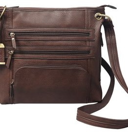 Bulldog BDC Cross Body Series Concealed Carry Purse Large Chocolate Brown
