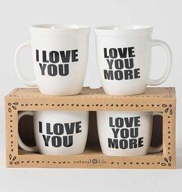 Natural Life Love You More Ceramic Mug Set