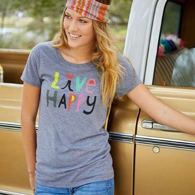 "Natural Life ""Live Happy"" Perfect Fit Tee"