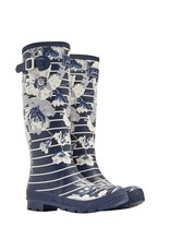 Joules French Navy Posy Stripe Welly Boots