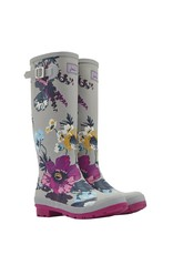 Joules Silver Posy Welly Boots