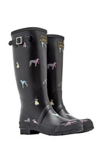 Joules Black Chic Dog Welly Boots